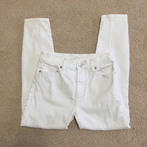 Loft Modern Skinny Ankle White Stretch Jeans